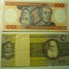Billetes extranjeros: LOTE BILLETES BRASIL 10 Y 100 CRUZEIROS. Lote 46195975