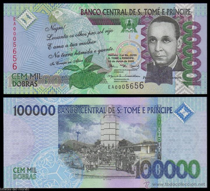 SANTO TOME Y PRINCIPE 100000 DOBRAS 2005 PICK 69A SC UNC (Numismática - Notafilia - Billetes Extranjeros)
