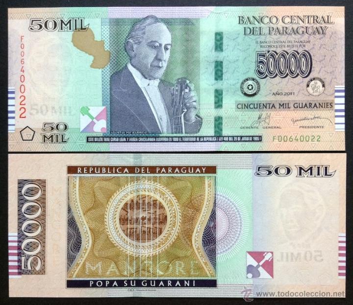 Guaranies 2011 50000 50,000 Pick 232c 2012 Paraguay UNC