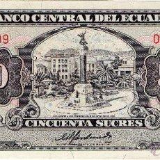 Billetes extranjeros: ECUADOR : 50 SUCRES 1988 SIN CIRCULAR . Lote 46955507