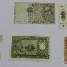 Billetes extranjeros: 5 BILLETES, 4 BILLETES ITALIANOS, 2 BILLETES DE 1000 LIRAS (UNO DE 1982 Y OTRO DE 1990), 100 LIRAS D. Lote 47565751