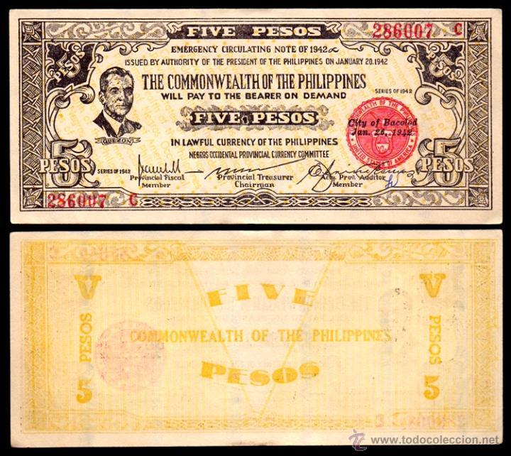 BILLETE FILIPINAS - 5 PESOS - 1942 - PICK.S648B - PLANCHA - MUY ESCASO (Numismática - Notafilia - Billetes Extranjeros)