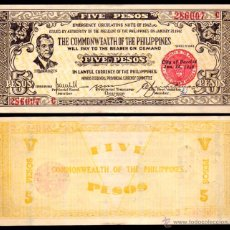 Billetes extranjeros: BILLETE FILIPINAS - 5 PESOS - 1942 - PICK.S648B - PLANCHA - MUY ESCASO. Lote 47731840