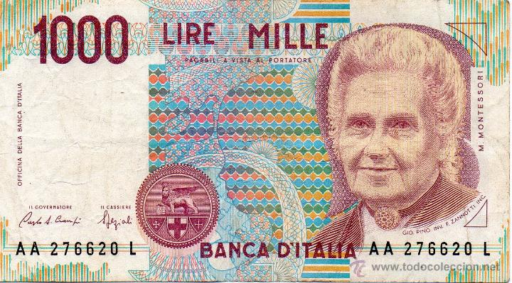 italia : 1000 lire nd (1990 ) maria montessori - Comprar Billetes ...