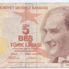 Billetes extranjeros: TURQUIA- 5 LIRAS- 2009. Lote 47913417