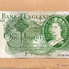 Billetes extranjeros: BILLETE ONE POUND. UNA LIBRA. BANK OF ENGLAND. BANCO INGLATERRA. GRAN BRETAÑA. REINO UNIDO.ELISABETH. Lote 48611369