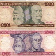 Billetes extranjeros: DOS BILLETES BRASIL *100 Y 1000 CRUZEIROS*. Lote 48652326