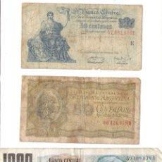 Billetes extranjeros: TRES BILLETES DE REPUBLICA DE ARGENTINA *50 CENTAVOS Y 1000 PESOS*. Lote 48652362