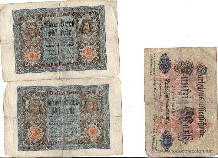 TRES BILLETES ALEMANIA 100 Y 50 M,ARK (Numismática - Notafilia - Billetes Extranjeros)