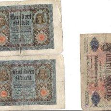 Billetes extranjeros: TRES BILLETES ALEMANIA 100 Y 50 M,ARK. Lote 48652485