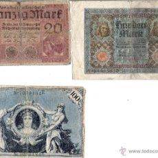 Billetes extranjeros: TRES BILLETES ALEMANIA 100 Y 20 M,ARK. Lote 48652509