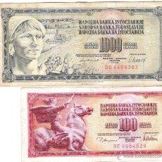 Billetes extranjeros: REPUBLICA DE JUGOSLAVIJE *100 Y 1000 DINARA*. Lote 48652572