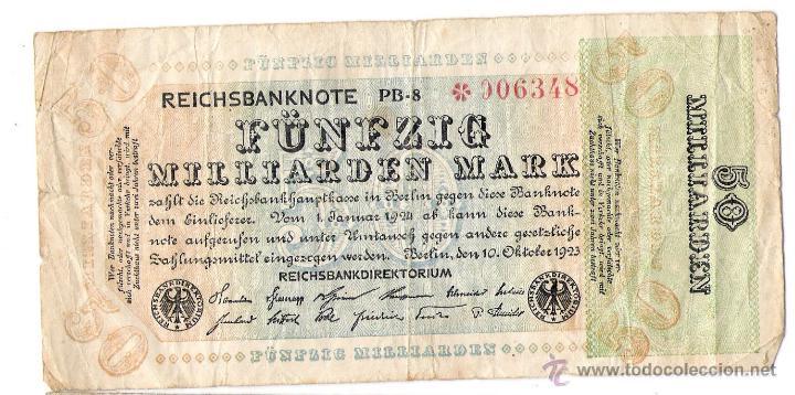 BILLETE DE ALEMANIA. 50 MILLIARDEN MARK 10 OCTUBRE 1923 (Numismática - Notafilia - Billetes Extranjeros)