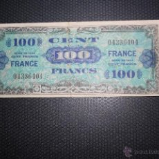 Billetes extranjeros: FRANCIA, 100 FRANCOS 1944, OCUPACION AMERICANA SEGUNDA GUERRA MUNDIAL. Lote 48995904
