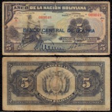 Billetes extranjeros: BOLIVIA 5 BOLIVIANOS 1911 (1929) PICK 113 RC/BC. Lote 151359912