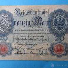 Billets internationaux: BILLETE ALEMANIA 20 MARK BERLIN 1914. Lote 49073782