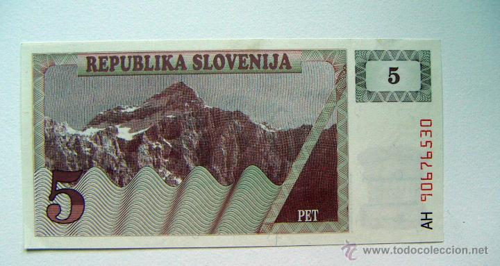 ESLOVENIA SLOVENIA 5 TOLARJEV 1990 SC (Numismática - Notafilia - Billetes Extranjeros)