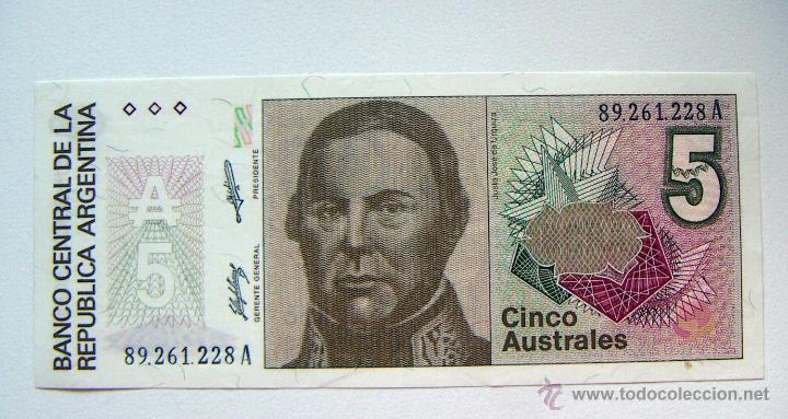 ARGENTINA 5 AUSTRALES PLANCHA (Numismática - Notafilia - Billetes Extranjeros)