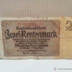 Billetes extranjeros: BILLETE DE ALEMANIA 2 RENTENMARK USADO AÑO 1937. Lote 49184930