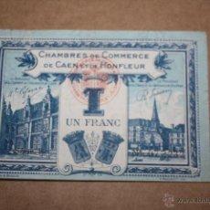 Billetes extranjeros: FRANCIA, 1 FRANCO DE LA CASA DE COMERCIO DE CAEN ET DE HONFLEUR 1920-1923. Lote 49346274