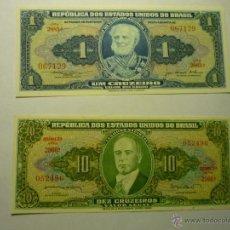 Billetes extranjeros: LOTE BILLETES REPUBLICA ESTADOS UNIDOS BRASIL 1 Y 10 CRUZEIROS. Lote 49436004