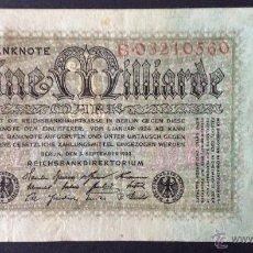 Billetes extranjeros: ALEMANIA. 1 MILLIARDE MARK 5.9.1923. PICK 114. UNIFAZ.. Lote 49551260