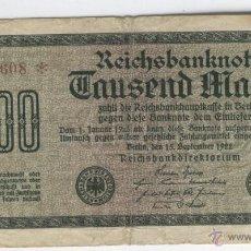 Billetes extranjeros: BILLETES EXTRANGEROS A BUEN PRECIO ALEMANIA REICHSBANKNOTE 1000 MARCOS AÑO 1922 . Lote 49620054