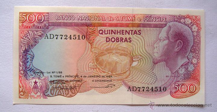 BILLETES DEL MUNDO . SANTO TOMÉ-PRINCIPE . 500 DOBRAS 1989 . PLANCHA (Numismática - Notafilia - Billetes Extranjeros)