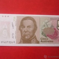 Billetes extranjeros: ARGENTINA. BILLETE DE 5 AUSTRALES. Lote 50197962