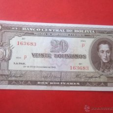 Billetes extranjeros: BOLIVIA. BILLETE DE 20 BOLIVIANOS. 1945. Lote 50260637