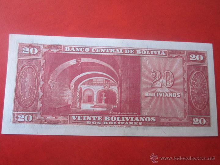 Billetes extranjeros: Bolivia. billete de 20 bolivianos. 1945 - Foto 2 - 50260637