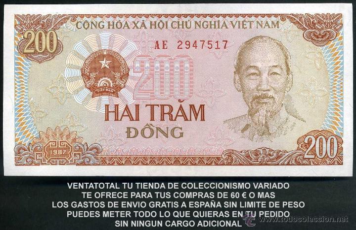 Billetes extranjeros: VIETNAM 200 DONG AÑO 1987 SC ( TRACTOR Y AGRICULTORES COSECHANDO EN EL CAMPO ) Nº2 - Foto 2 - 181500800
