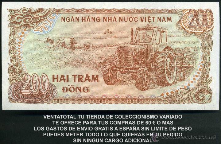 VIETNAM 200 DONG AÑO 1987 SC ( TRACTOR Y AGRICULTORES COSECHANDO EN EL CAMPO ) Nº3 (Numismática - Notafilia - Billetes Extranjeros)