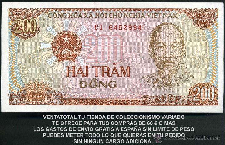 Billetes extranjeros: VIETNAM 200 DONG AÑO 1987 SC ( TRACTOR Y AGRICULTORES COSECHANDO EN EL CAMPO ) Nº4 - Foto 2 - 184733180