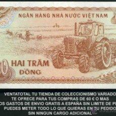 Billetes extranjeros: VIETNAM 200 DONG AÑO 1987 SC ( TRACTOR Y AGRICULTORES COSECHANDO EN EL CAMPO ) Nº5. Lote 159146817