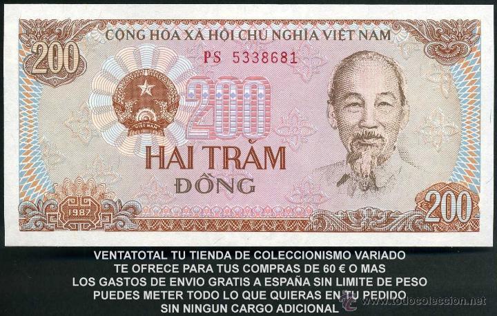 Billetes extranjeros: VIETNAM 200 DONG AÑO 1987 SC ( TRACTOR Y AGRICULTORES COSECHANDO EN EL CAMPO ) Nº5 - Foto 2 - 159146817