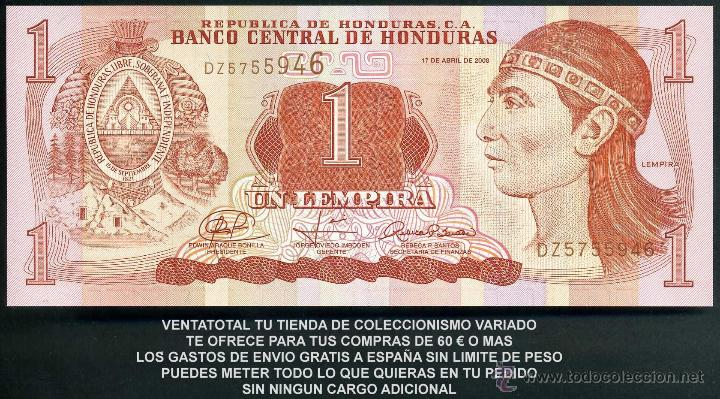 HONDURAS 1 LEMPIRA AÑO 2008 SC ( INDIO LEMPIRA BALIENTE ) Nº3 (Numismática - Notafilia - Billetes Extranjeros)