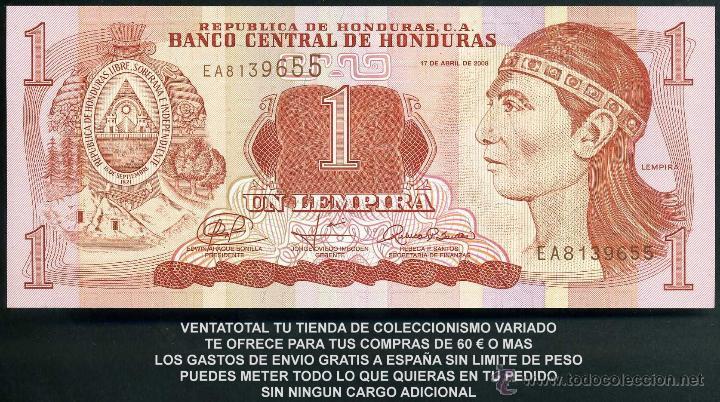 HONDURAS 1 LEMPIRA AÑO 2008 SC ( INDIO LEMPIRA BALIENTE ) Nº6 (Numismática - Notafilia - Billetes Extranjeros)