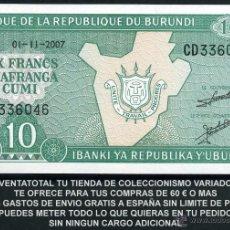 Billetes extranjeros: BURUNDI 10 FRANCOS AÑO 2007 SC Nº6. Lote 181350608
