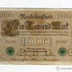 Billetes extranjeros: 1000 MARCOS ALEMANIA AÑO 1910 SELLO VERDE. Lote 51529220