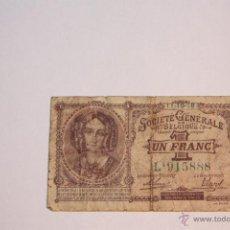Billetes extranjeros: BILLETE 1 FRANCO BELGA 1918. Lote 51649405