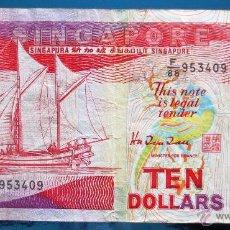 Billetes extranjeros: SINGAPORE BILLETE DE 10 DOLLARS USADO. Lote 52016555
