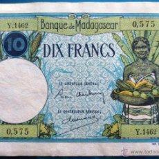 Billetes extranjeros: MADAGASCAR BILLETE DE 10 FRANCOS DE 1937-47 P-36 . Lote 52339359