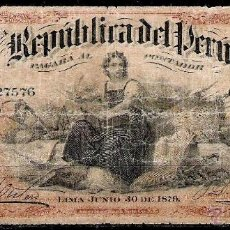 Billetes extranjeros: PERÚ 20 SOLES 1879. Lote 52902643