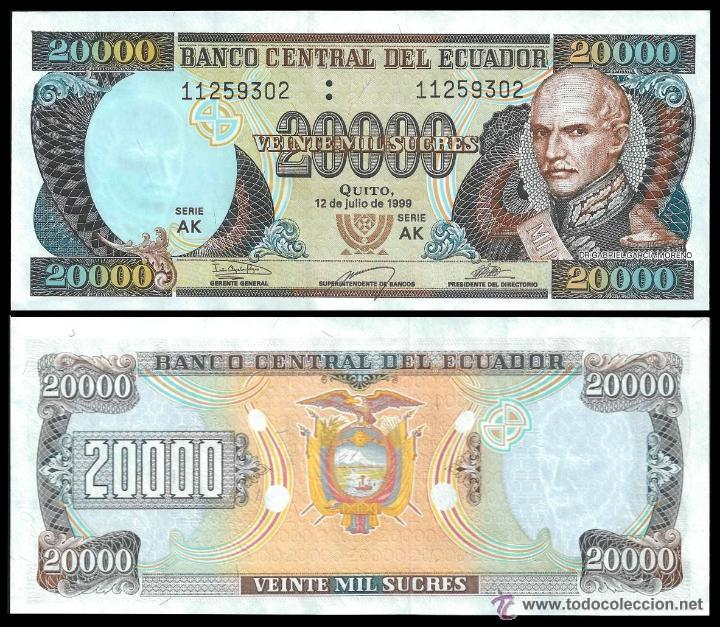ECUADOR 20.000 SUCRES 1999 P.129 SIN CIRCULAR (Numismática - Notafilia - Billetes Extranjeros)