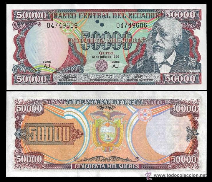 ECUADOR 50.000 SUCRES 1999 P.130 SIN CIRCULAR (Numismática - Notafilia - Billetes Extranjeros)