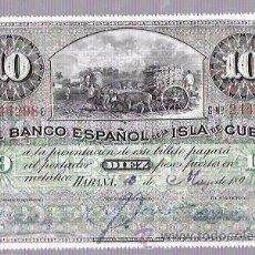 Billetes extranjeros: BILLETE DIEZ PESOS. 1896. FECHADO A MANO.CUBA. Lote 53507295
