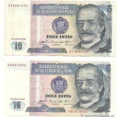 Billetes extranjeros: LOTE 2 BILLETES 10 INTIS, PERU. Lote 53524427