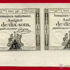 Billetes extranjeros: BILLETE FRANCIA , 2 BILLETES , DOMAINES NATIONAUX ASSIGNAT DE DIX SOUX 1793 , EBC+ , ORIGINAL , T22. Lote 53708979