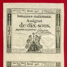Billetes extranjeros: BILLETE FRANCIA , 2 BILLETES , DOMAINES NATIONAUX ASSIGNAT DE DIX SOUX 1793 , EBC+ , ORIGINAL , T20. Lote 53708985